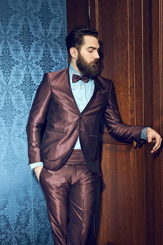 Bräutigam Anzug Slimfit mit Stehkragen in der Farbe